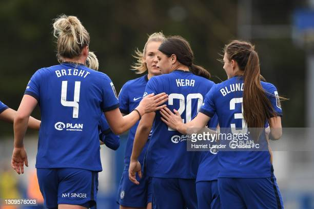 Sam Kerr of Chelsea celebrates with teammates after scoring her team's first goal during the Barclays FA Women's Super League match between Chelsea...