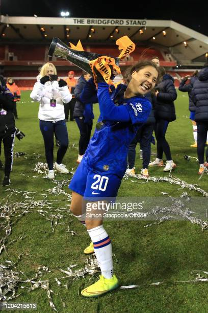Sam Kerr of Chelsea celebrates with the trophy after the FA Women's Continental League Cup Final between Chelsea FC Women and Arsenal FC Women at the...