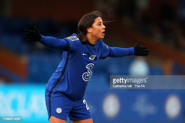 Sam Kerr of Chelsea during the Barclays FA Women's Super League match between Chelsea Women and Manchester United Women at Kingsmeadow on January 17,...