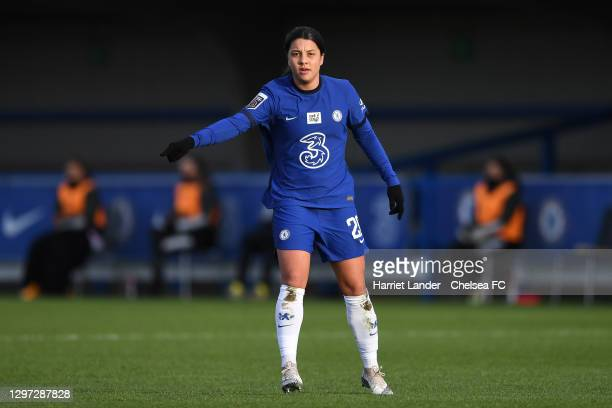 Sam Kerr of Chelsea gives her team instructions during the Barclays FA Women's Super League match between Chelsea Women and Manchester United Women...