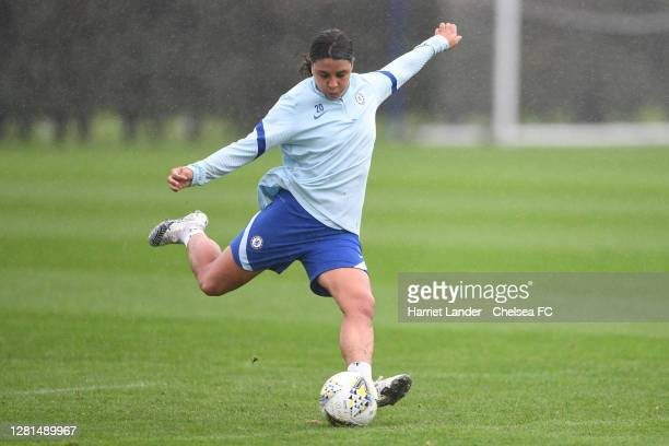 Sam Kerr of Chelsea in action during a Chelsea FC Women Training Session at Chelsea Training Ground on October 21 2020 in Cobham England