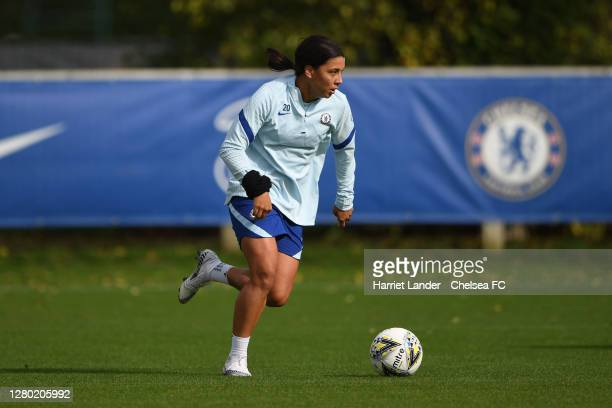 Sam Kerr of Chelsea in action during a Chelsea FC Women's Training Session at Chelsea Training Ground on October 14 2020 in Cobham England