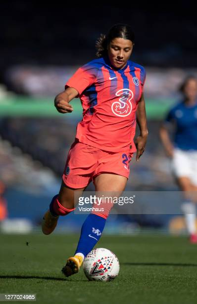 Sam Kerr of Chelsea in action during the Womens FA Cup Quarter Final match between Everton FC and Chelsea FC at Goodison Park on September 27 2020 in...