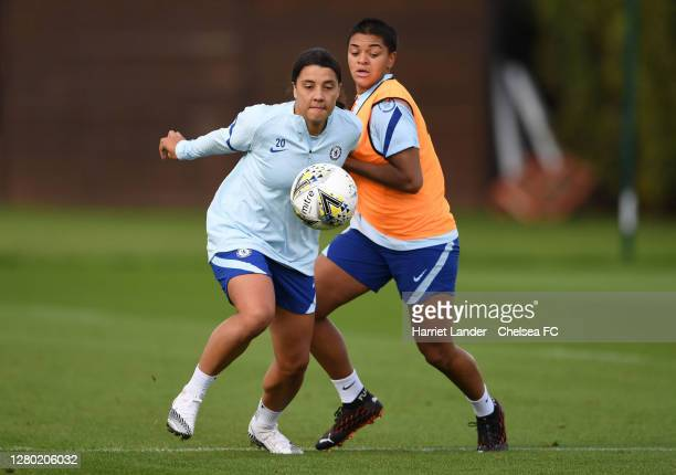 Sam Kerr of Chelsea is challenged by Jess Carter of Chelsea during a Chelsea FC Women's Training Session at Chelsea Training Ground on October 14...