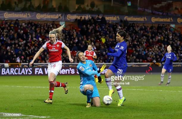 Sam Kerr of Chelsea is challenged by Manuela Zinsberger of Arsenal during the FA Women's Continental League Cup Final Chelsea FC Women and Arsenal FC...