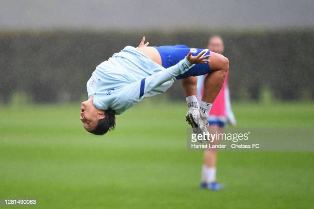 Sam Kerr of Chelsea reacts during a Chelsea FC Women Training Session at Chelsea Training Ground on October 21 2020 in Cobham England