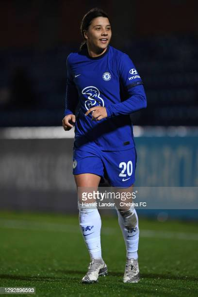 Sam Kerr of Chelsea runs on during the UEFA Women's Champions League round of 32 second leg match between FC Chelsea Women and SL Benfica Women at...