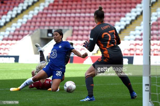 Sam Kerr of Chelsea scores her team's first goal during the Barclays FA Women's Super League match between Manchester United Women and Chelsea Women...