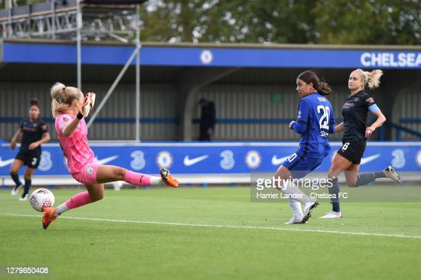 Sam Kerr of Chelsea scores her team's second goal during the Barclays FA Women's Super League match between Chelsea Women and Manchester City Women...