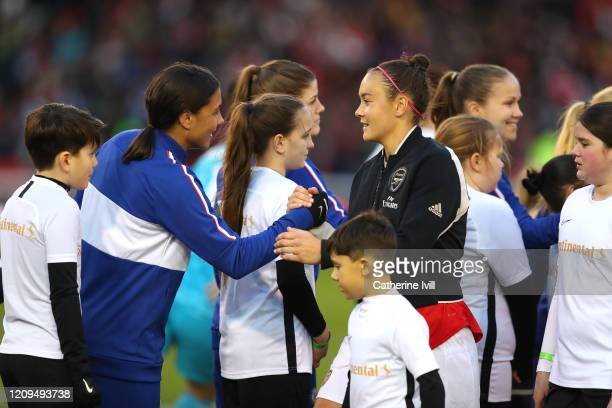 Sam Kerr of Chelsea shakes hands with fellow Australian Caitlin Foord of Arsenal prior to the FA Women's Continental League Cup Final Chelsea FC...