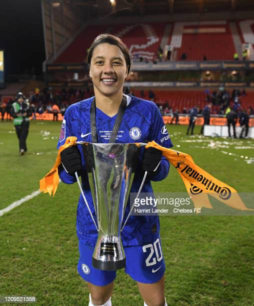 Sam Kerr of Chelsea with the cup during the FA Women's Continental League Cup Final Chelsea FC Women and Arsenal FC Women at City Ground on February...