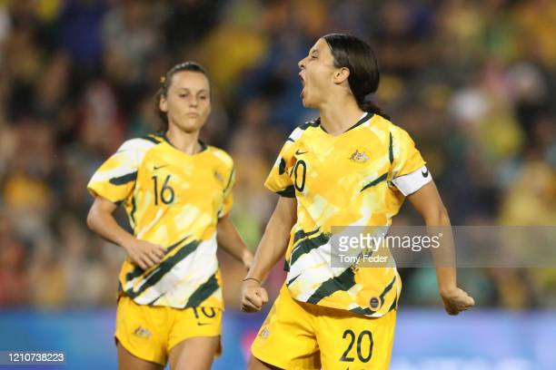 Sam Kerr of the Australian Matildas celebrates a goal during the Women's Olympic Football Tournament PlayOff match between the Australian Matildas...