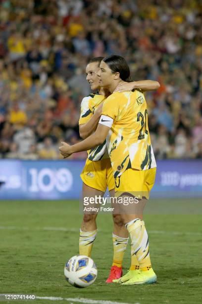 Sam Kerr of the Australian Matildas celebrates her goal during the Women's Olympic Football Tournament PlayOff match between the Australian Matildas...