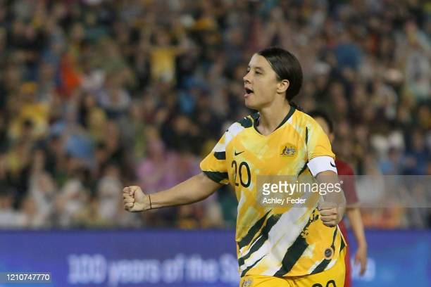 Sam Kerr of the Australian Matildas celebrates her goal during the Women's Olympic Football Tournament Play-Off match between the Australian Matildas...