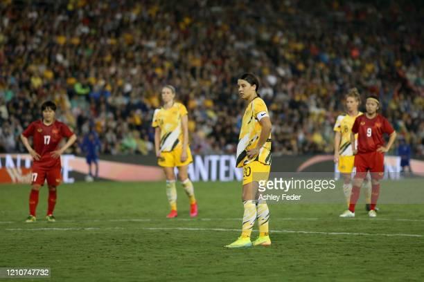 Sam Kerr of the Australian Matildas prepare for a penalty during the Women's Olympic Football Tournament PlayOff match between the Australian...