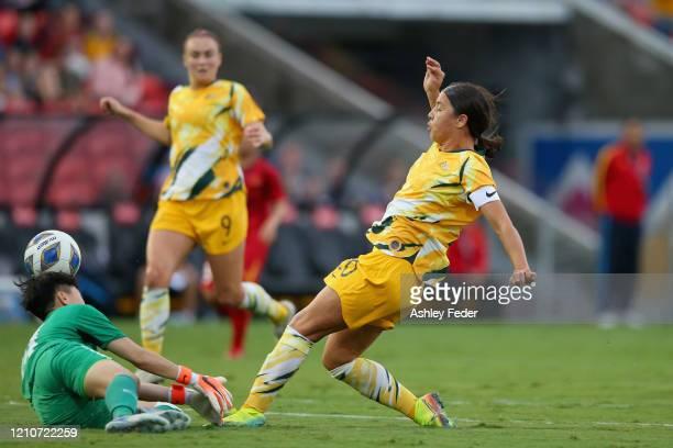 Sam Kerr of the Australian Matildas shoots at goal during the Women's Olympic Football Tournament PlayOff match between the Australian Matildas and...