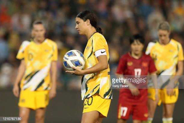 Sam Kerr of the Australian Matildas takes a penalty during the Women's Olympic Football Tournament PlayOff match between the Australian Matildas and...