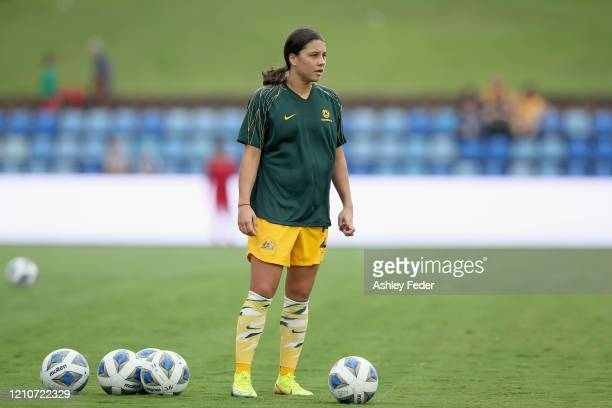 Sam Kerr of the Australian Matildas warms up during the Women's Olympic Football Tournament PlayOff match between the Australian Matildas and Vietnam...