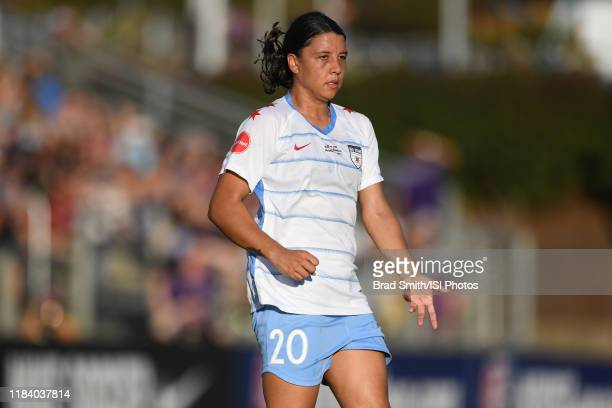 Sam Kerr of the Chicago Red Stars calls for the ball during a game between Chicago Red Stars and North Carolina Courage at Sahlen's Stadium at...