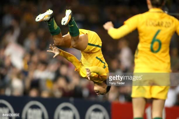 Sam Kerr of the Matildas celebrates a goal during the Women's International match between the Australian Matildas and Brazil at McDonald Jones...