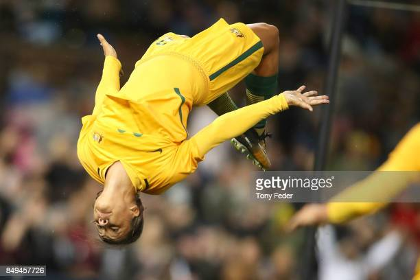 Sam Kerr of the Matildas celebrates a goal during the Women's International match between the Australian Matildas and Brazil at McDonald Jones...