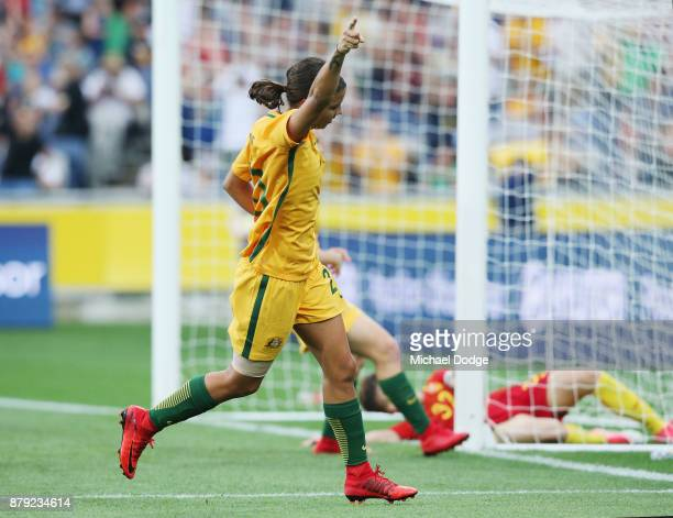 Sam Kerr of the Matildas celebrates a goal during the Women's International match between the Australian Matildas and China PR at Simonds Stadium on...