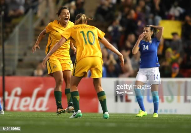 Sam Kerr of the Matildas celebrates a goal with team mate Emily Van Egmond during the Women's International match between the Australian Matildas and...