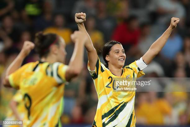 Sam Kerr of the Matildas celebrates at the final whistle during the Women's Olympic Football Tournament Qualifier between Australia and China PR at...