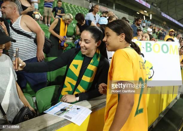 Sam Kerr of the Matildas greets fans after the Women's International match between the Australian Matildas and China PR at AAMI Park on November 22...