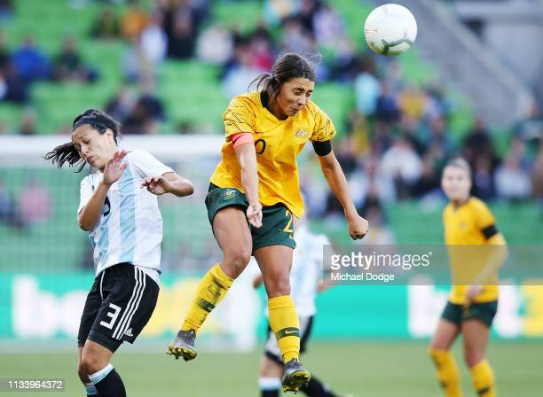 Sam Kerr of the Matildas heads the ball during the Cup of Nations match between Australia and Argentina at AAMI Park on March 06 2019 in Melbourne...
