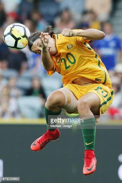Sam Kerr of the Matildas heads the ball during the Women's International match between the Australian Matildas and China PR at Simonds Stadium on...
