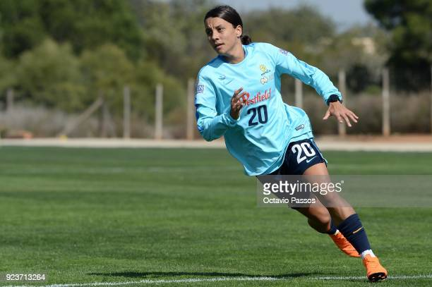 Sam Kerr of the Matildas in action during a Matildas training session on February 24 2018 in Faro Portugal