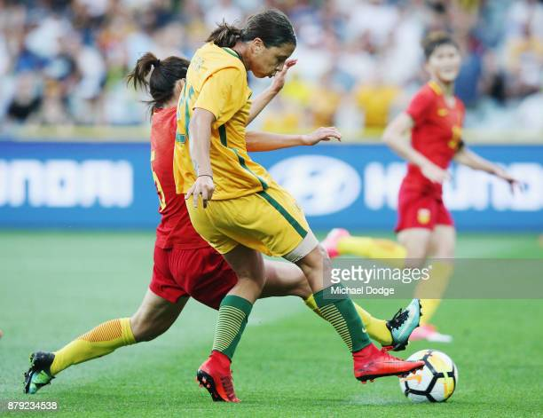 Sam Kerr of the Matildas kicks the ball for a goal during the Women's International match between the Australian Matildas and China PR at Simonds...