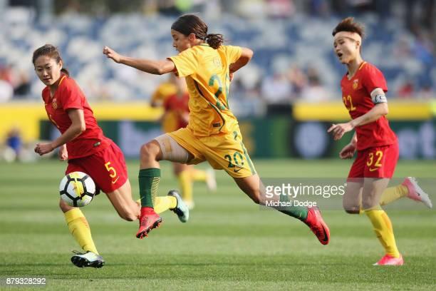 Sam Kerr of the Matildas kicks the ball on thr run during the Women's International match between the Australian Matildas and China PR at Simonds...