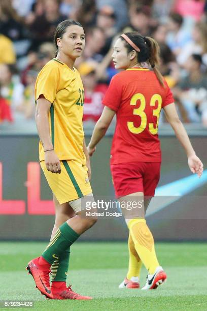 Sam Kerr of the Matildas reacts after the match was stopped due to lightning during the Women's International match between the Australian Matildas...
