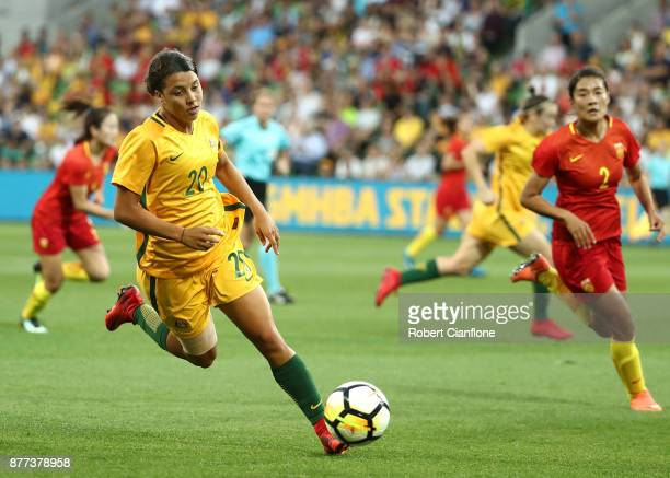 Sam Kerr of the Matildas runs with the ball during the Women's International match between the Australian Matildas and China PR at AAMI Park on...