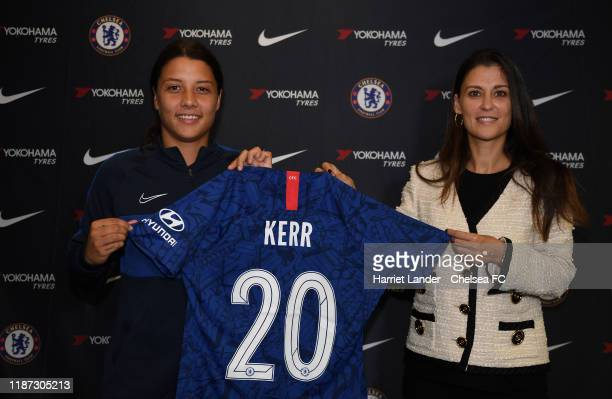 Sam Kerr poses for a photo with Marina Granovskaia Director of Chelsea as she signs for Chelsea Women FC at Stamford Bridge on November 13 2019 in...