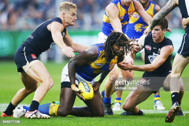 Sam Kerridge of the Blues and Paddy Dow tackle Nic Naitanui of the Eagles compete for the ball during the round five AFL match between the Carlton...