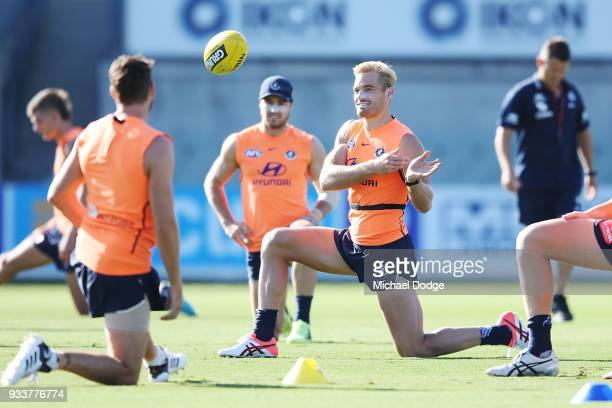 Sam Kerridge of the Blues passes the ball during a Carlton Blues AFL training session at Ikon Park on March 19 2018 in Melbourne Australia