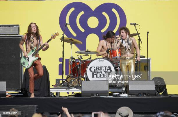 Sam Kiszka, Danny Wagner and Josh Kiszkacof Greta Van Fleet performs onstage during the 2018 iHeartRadio Music Festival Daytime Stage at the Las...