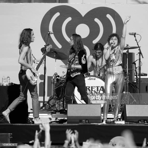 Sam Kiszka, Jake Kiszka, Danny Wagner and Josh Kiszka of Greta Van Fleet performs onstage during the 2018 iHeartRadio Music Festival Daytime Stage at...