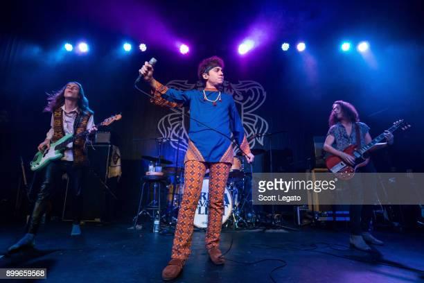 Sam Kiszka Josh Kiszka and Jake Kiszka of Greta Van Fleet perform at St Andrews Hall on December 29 2017 in Detroit Michigan