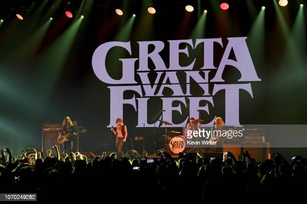 Sam Kiszka, Josh Kiszka, Danny Wagner and Jake Kiszka of the band Greta Van Fleet performs on stage during the KROQ Absolut Almost Acoustic Christmas...