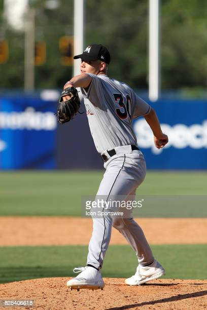 Sam Knowlton delivers a pitch to the plate during the East Coast Pro Showcase on August 01 at Steinbrenner Field in Tampa FL