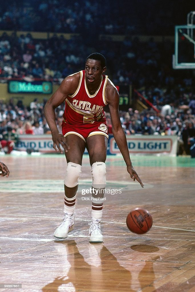 Sam Lacey #52 of the Cleveland Cavaliers looks to make a move against the Boston Celtics during a game played in 1983 at the Boston Garden in Boston, Massachusetts.