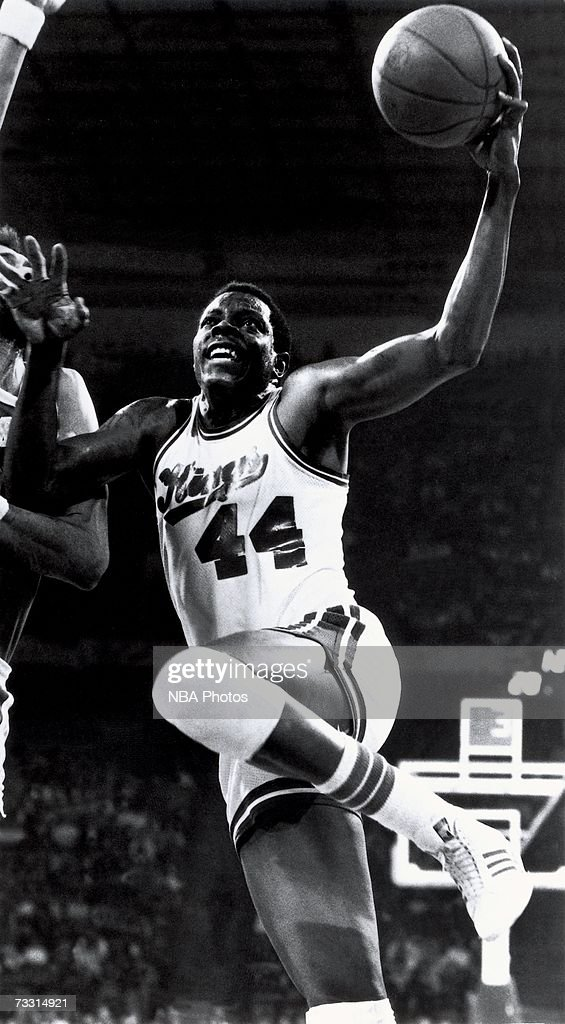 Sam Lacey #44 of the Kansas City Kings goes for a layup during the 1975 season in Kansas City, Missouri.