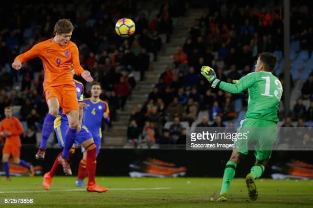 Sam Lammers of Holland U21 scores the second goal to make it 20 during the match between Holland U21 v Andorra U21 at the De Vijverberg on November...