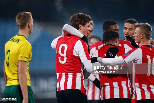 Sam Lammers of PSV U23 Celebrate goal Nikolai Laursen of PSV U23 Donyell Malen of PSV U23 Armando Obispo of PSV U23 Albert Gudmundsson of PSV U23...