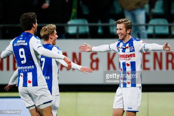 Sam Lammers of SC Heerenveen, Dennis Johnsen of SC Heerenveen, Michel Vlap of SC Heerenveen, celebrate the 0-1 during the Dutch Eredivisie match...