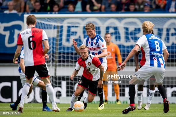 Sam Lammers of sc Heerenveen Jordy Clasie of Feyenoord during the Dutch Eredivisie match between sc Heerenveen and Feyenoord Rotterdam at Abe Lenstra...